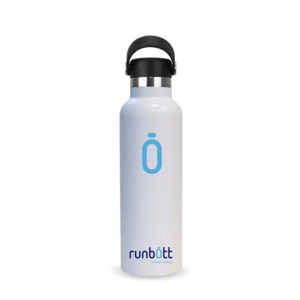 Botella termo Runbott blanca para bebidas de 60cl