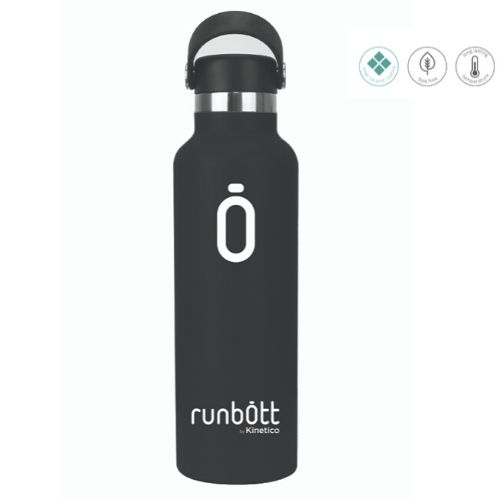 Botella termo Runbott negra para bebida portátil de 60cl